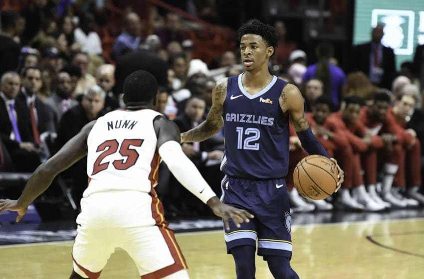 Ja Morant #12 of the Memphis Grizzlies in action against the Miami Heat at American Airlines Arena. (Photo by Ron Elkman/Sports Imagery/Getty Images)