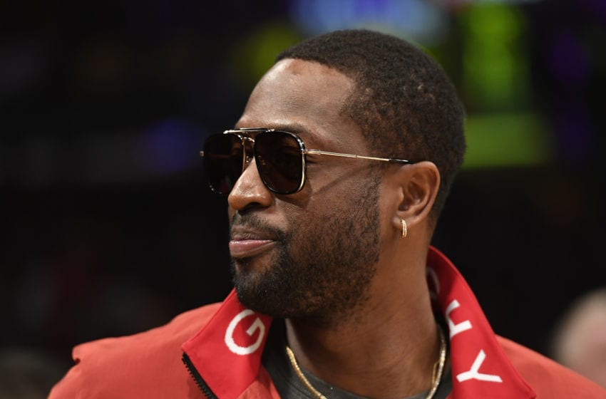 Former Miami Heat player Dwyane Wade attends the game between the Miami Heat and Los Angeles Lakers (Photo by Kevork Djansezian/Getty Images)