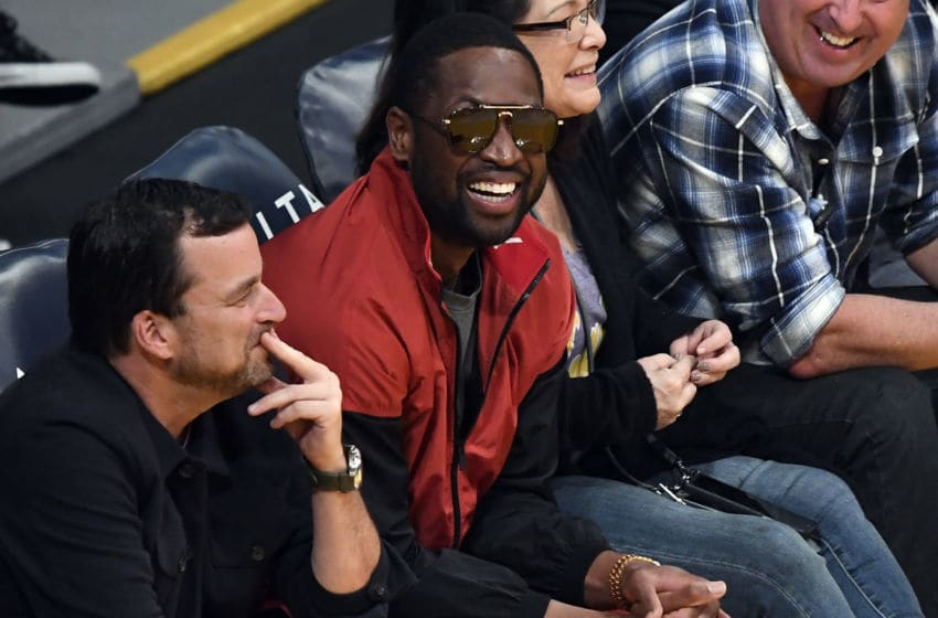 Former Miami Heat player Dwyane Wade attends the basketball game between Miami Heat and Los Angeles Lakers (Photo by Kevork S. Djansezian/Getty Images)
