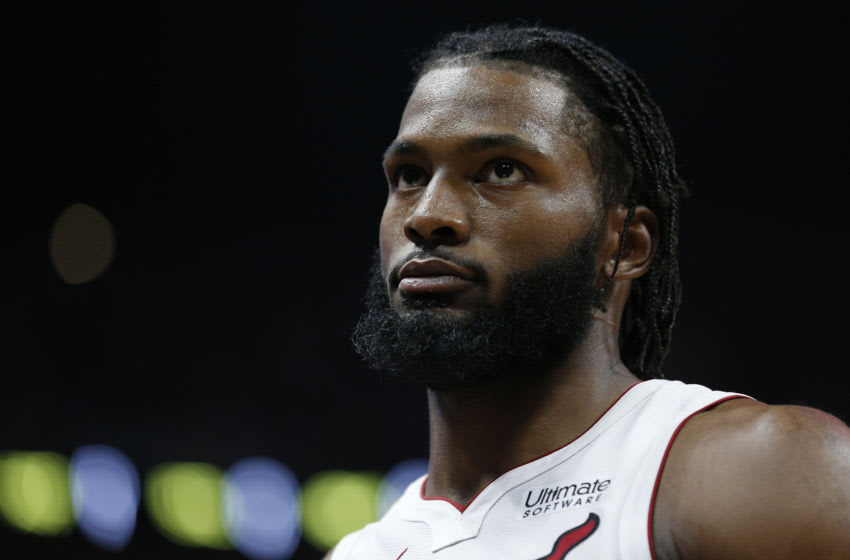 Justise Winslow #20 of the Miami Heat looks on against the Houston Rockets during the first half (Photo by Michael Reaves/Getty Images)