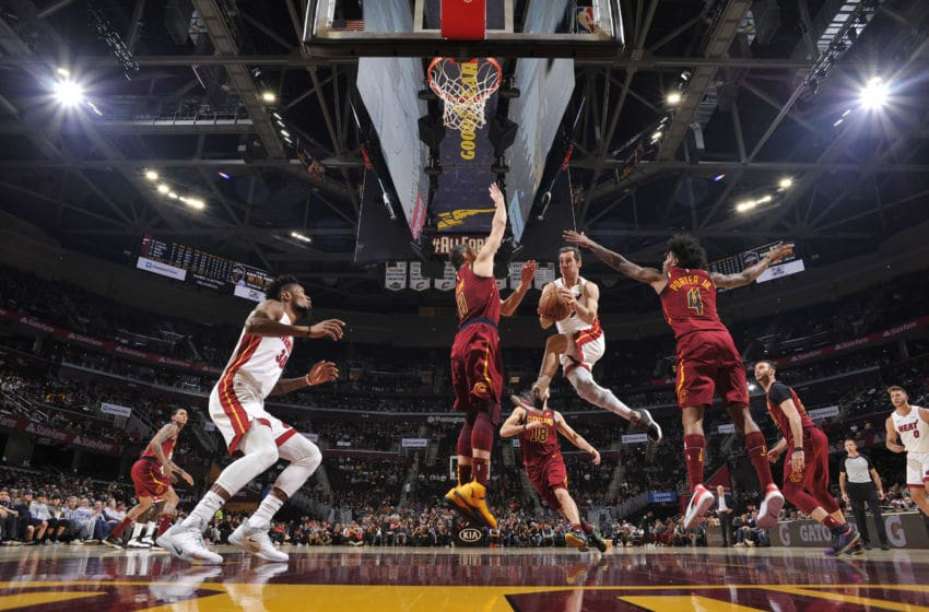 Goran Dragic #7 of the Miami Heat passes the ball against the Cleveland Cavaliers (Photo by David Liam Kyle/NBAE via Getty Images)