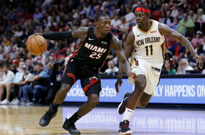 Kendrick Nunn #25 of the Miami Heat drives to the basket against Jrue Holiday #11 of the New Orleans Pelicans(Photo by Michael Reaves/Getty Images)