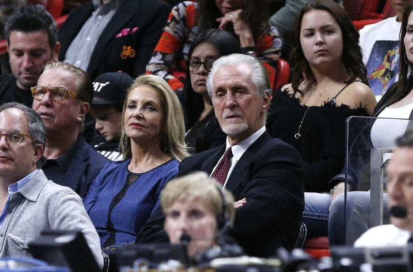 Miami Heat President Pat Riley looks on during the game against the New Orleans Pelicans (Photo by Michael Reaves/Getty Images)