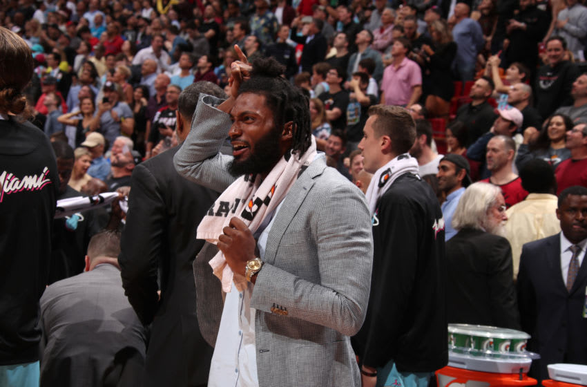 MIAMI, FL - DECEMBER 28: Justise Winslow #20 of the Miami Heat reacts to play against the Philadelphia 76ers on December 28, 2019 at American Airlines Arena in Miami, Florida. NOTE TO USER: User expressly acknowledges and agrees that, by downloading and or using this Photograph, user is consenting to the terms and conditions of the Getty Images License Agreement. Mandatory Copyright Notice: Copyright 2019 NBAE (Photo by Issac Baldizon/NBAE via Getty Images)