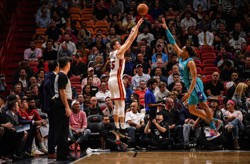Duncan Robinson #55 of the Miami Heat shoots the ball against the Charlotte Hornets (Photo by Mark Brown/Getty Images)