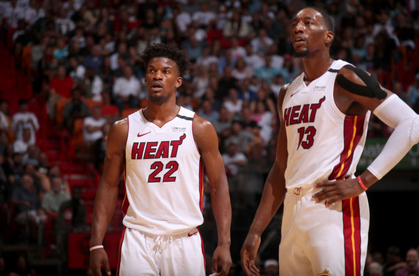 Jimmy Butler #22, and Bam Adebayo #13 of the Miami Heat (Photo by Issac Baldizon/NBAE via Getty Images)