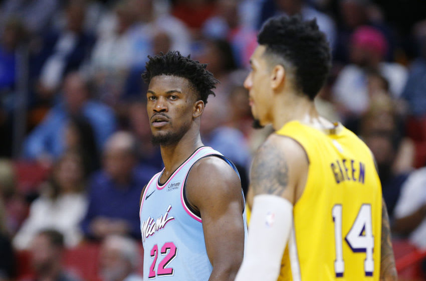 Jimmy Butler #22 of the Miami Heat and Danny Green #14 of the Los Angeles Lakers look on during the second half. (Photo by Michael Reaves/Getty Images)