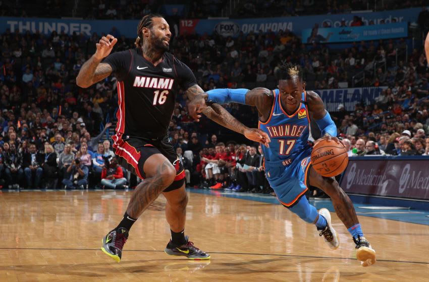 Dennis Schroder #17 of the Oklahoma City Thunder handles the ball against the Miami Heat (Photo by Zach Beeker/NBAE via Getty Images)