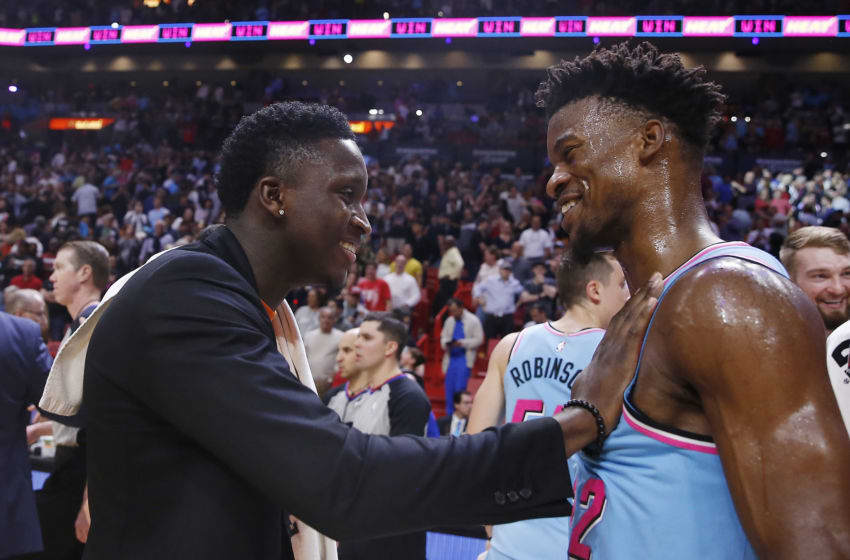 Victor Oladipo #4 of the Indiana Pacers greets Jimmy Butler #22 of the Miami Heat after the game. (Photo by Michael Reaves/Getty Images)