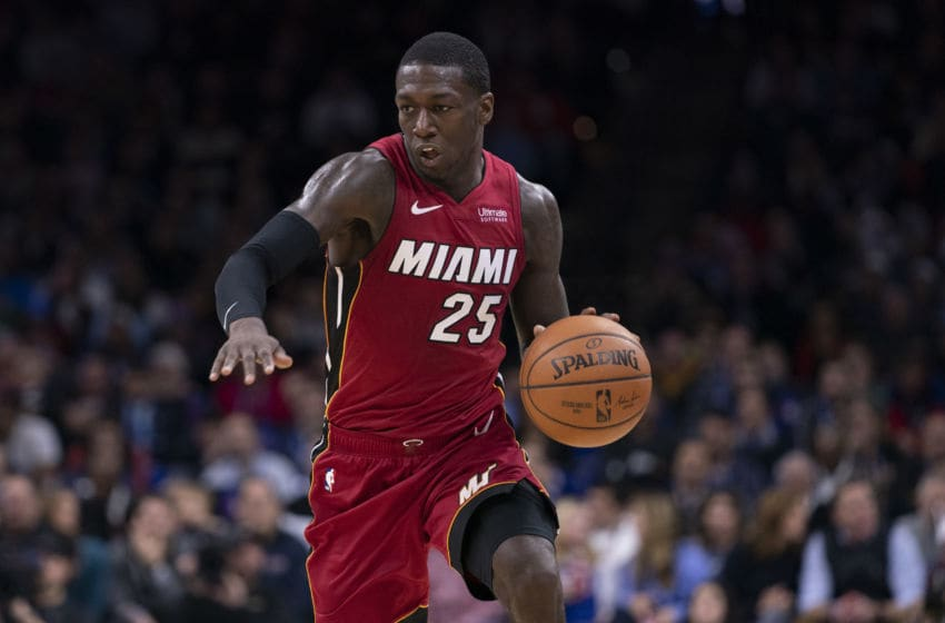 Kendrick Nunn #25 of the Miami Heat dribbles the ball against the Philadelphia 76ers. (Photo by Mitchell Leff/Getty Images)
