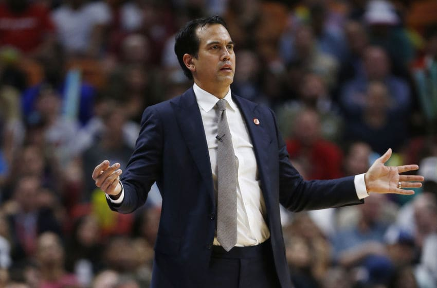 Head coach Erik Spoelstra of the Miami Heat reacts against the LA Clippers (Photo by Michael Reaves/Getty Images)