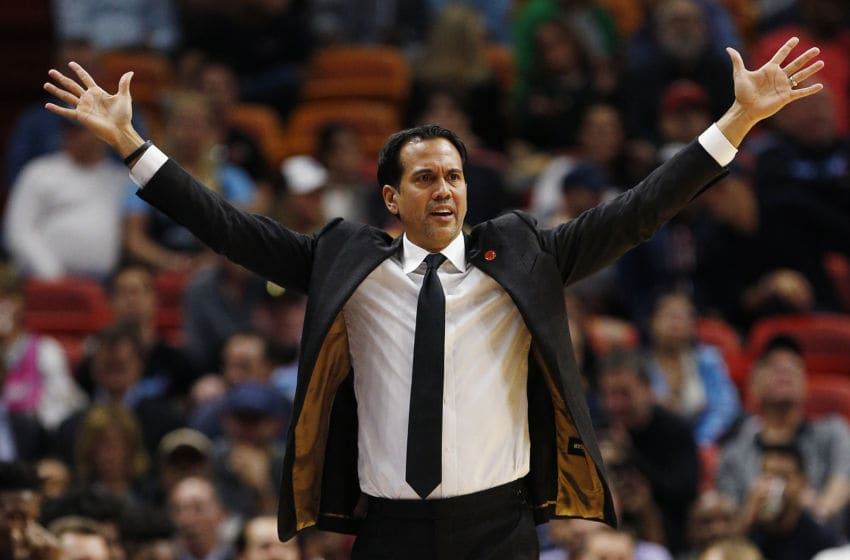 Head coach Erik Spoelstra of the Miami Heat reacts against the Philadelphia 76ers (Photo by Michael Reaves/Getty Images)