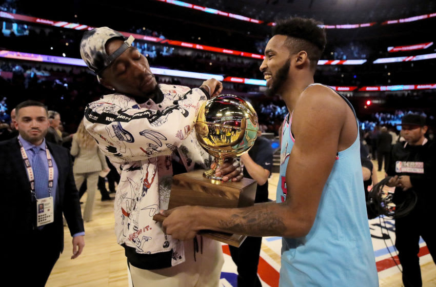 Bam Adebayo and Derrick Jones Jr. #5 of the Miami Heat celebrate after Jones Jr. won the 2020 NBA All-Star - AT&T Slam Dunk Contest (Photo by Jonathan Daniel/Getty Images)