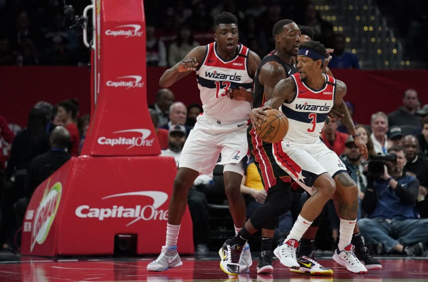 Bradley Beal #3 of the Washington Wizards dribbles against the Miami Heat (Photo by Patrick McDermott/Getty Images)