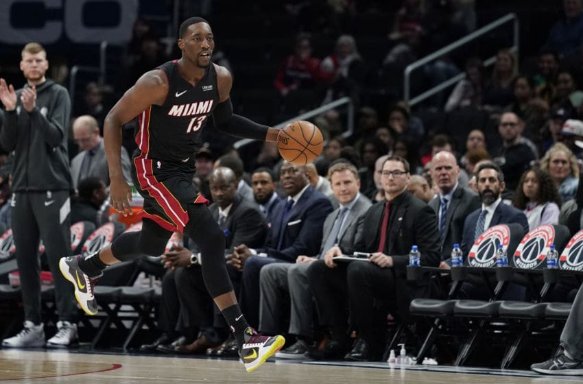 Bam Adebayo #13 of the Miami Heat dribbles against the Washington Wizards (Photo by Patrick McDermott/Getty Images)