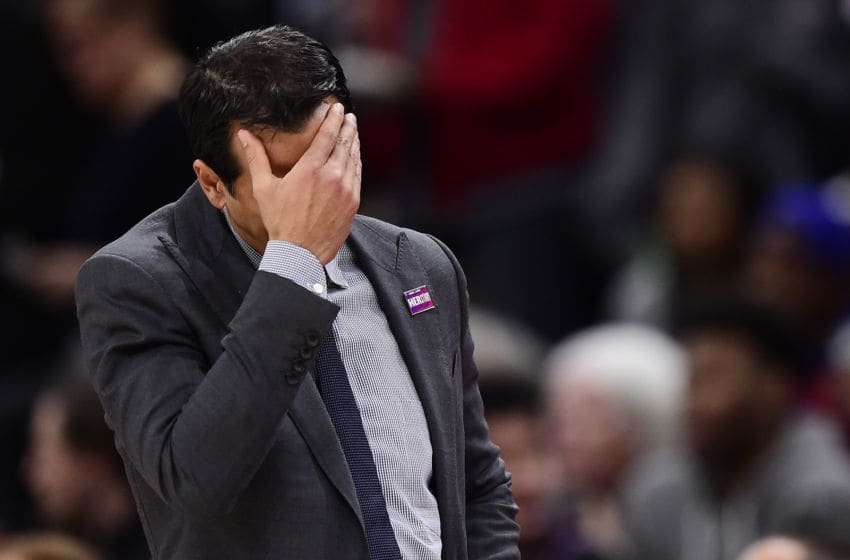 Head coach Erik Spoelstra of the Miami Heat reacts against the Washington Wizards (Photo by Patrick McDermott/Getty Images)