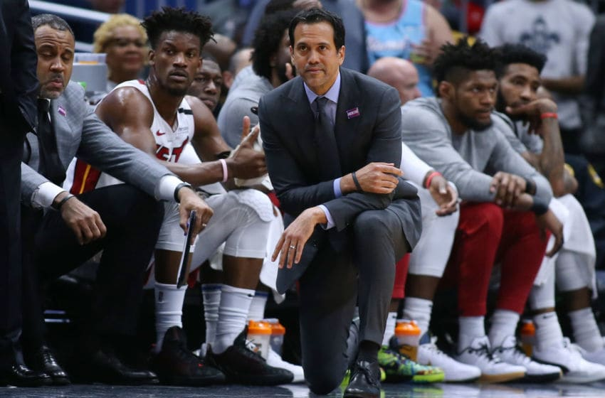 Head coach Erik Spoelstra of the Miami Heat reacts against the New Orleans Pelicans (Photo by Jonathan Bachman/Getty Images)