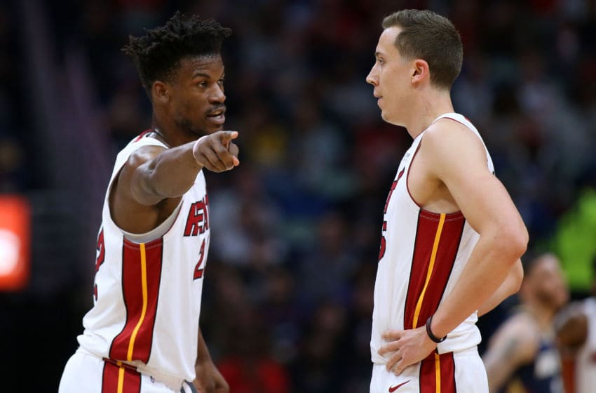 Jimmy Butler #22 of the Miami Heat talks to Duncan Robinson #55 against the New Orleans Pelicans (Photo by Jonathan Bachman/Getty Images)