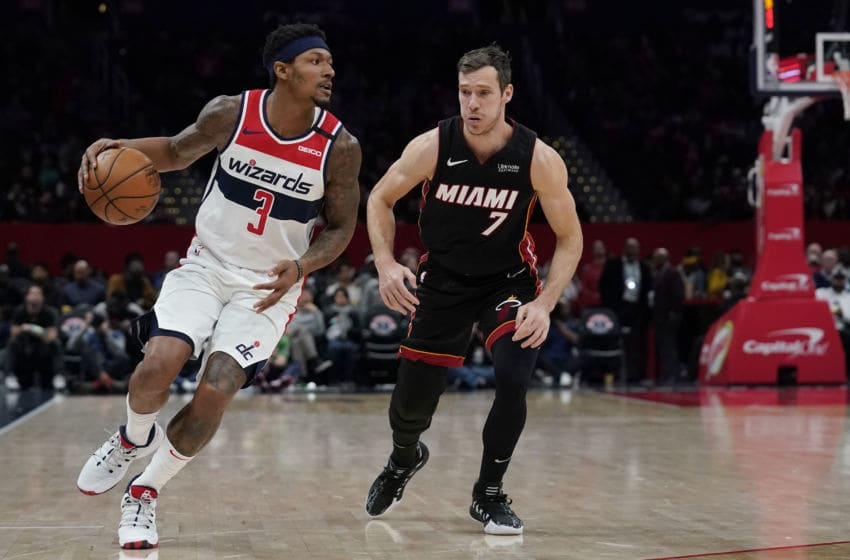 Bradley Beal #3 of the Washington Wizards dribbles against Goran Dragic #7 of the Miami Heat (Photo by Patrick McDermott/Getty Images)