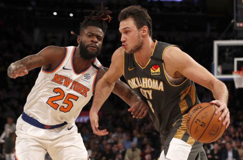 Danilo Gallinari #8 of the Oklahoma City Thunder in action against Reggie Bullock #25 (Photo by Jim McIsaac/Getty Images)