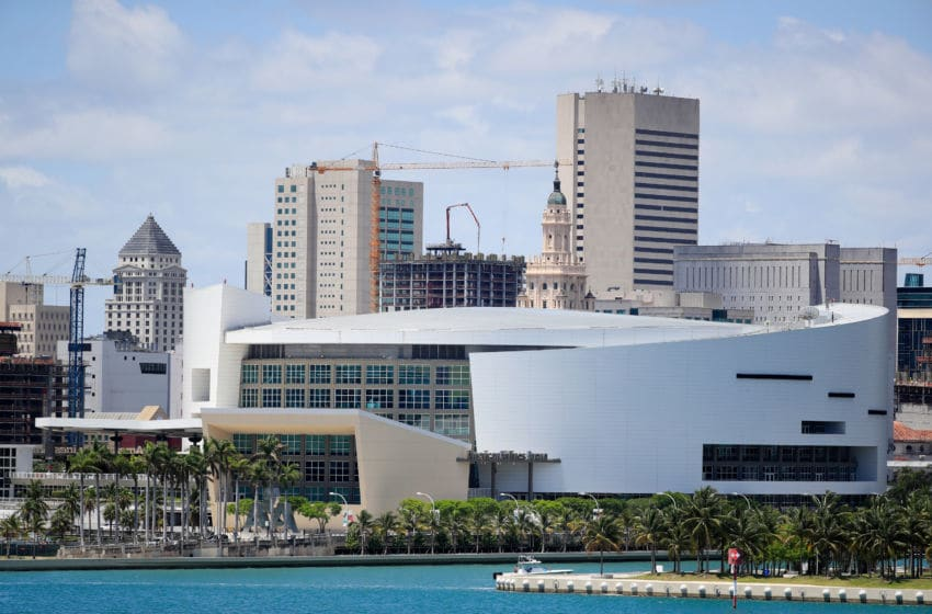 A general view of the AmericanAirlines Arena is seen on May 08, 2020 in Miami Florida.(Photo by Cliff Hawkins/Getty Images)