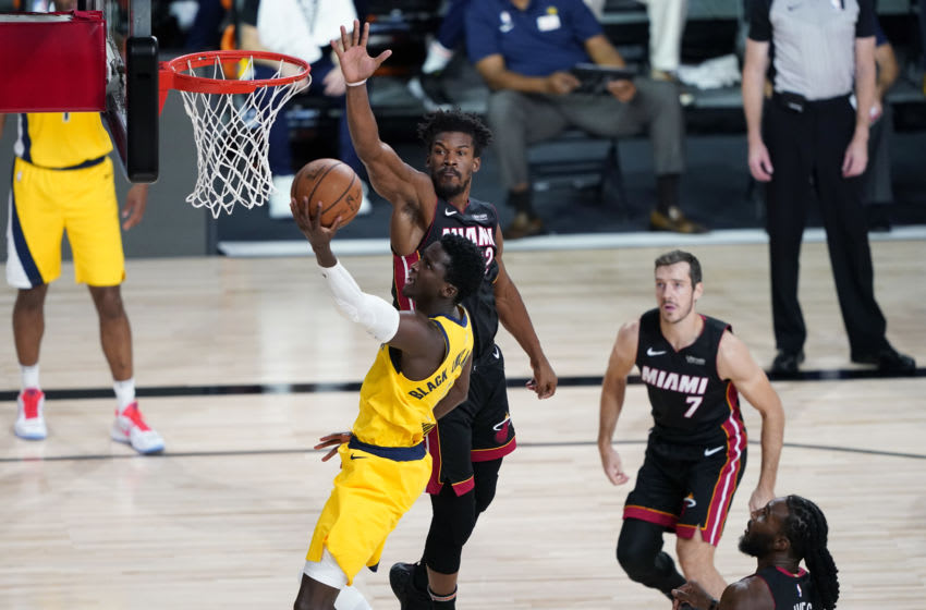 Victor Oladipo #4 of the Indiana Pacers shoots past Jimmy Butler #22 of the Miami Heat (Photo by Ashley Landis-Pool/Getty Images)