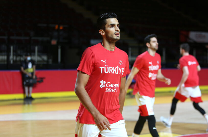 Omer Faruk Yurtseven of Turkey warms up ahead of FIBA Men's Olympic Qualifying Tournament Group B match between Turkey and Czech Republic; Miami Heat (Photo by Mert Alper Dervis/Anadolu Agency via Getty Images)
