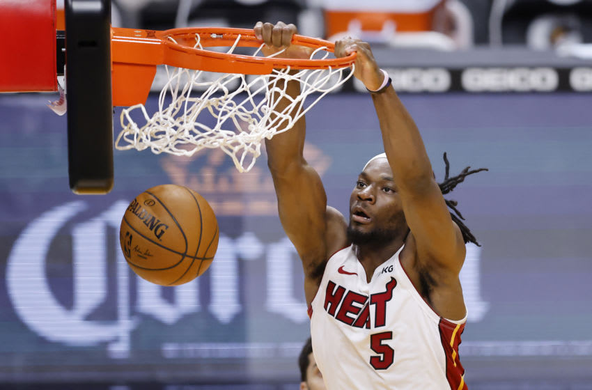 Precious Achiuwa #5 of the Miami Heat dunks against the Denver Nuggets (Photo by Michael Reaves/Getty Images)