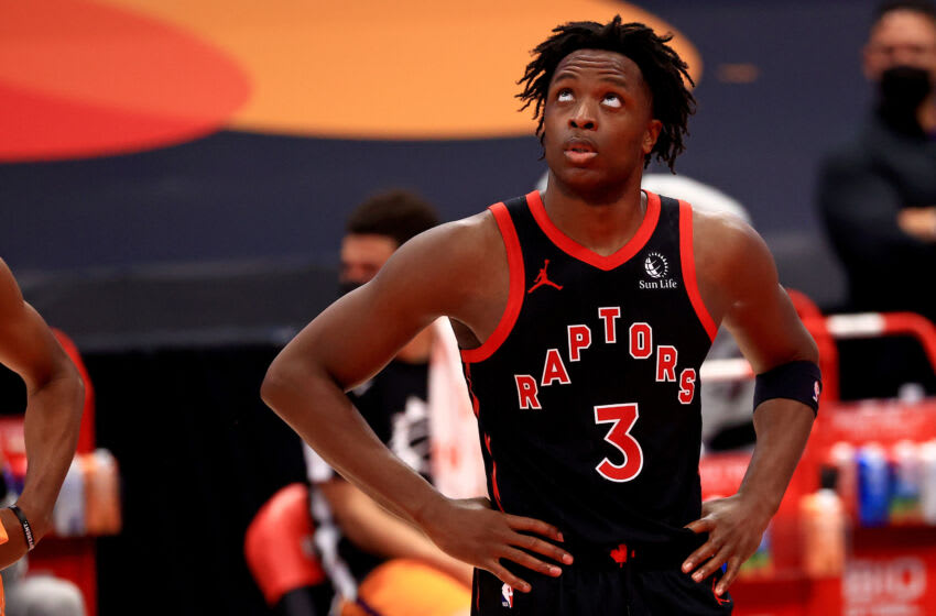 TAMPA, FLORIDA - MARCH 26: OG Anunoby #3 of the Toronto Raptors looks on during a game against the Phoenix Suns at Amalie Arena on March 26, 2021 in Tampa, Florida. (Photo by Mike Ehrmann/Getty Images) NOTE TO USER: User expressly acknowledges and agrees that, by downloading and or using this photograph, User is consenting to the terms and conditions of the Getty Images License Agreement.