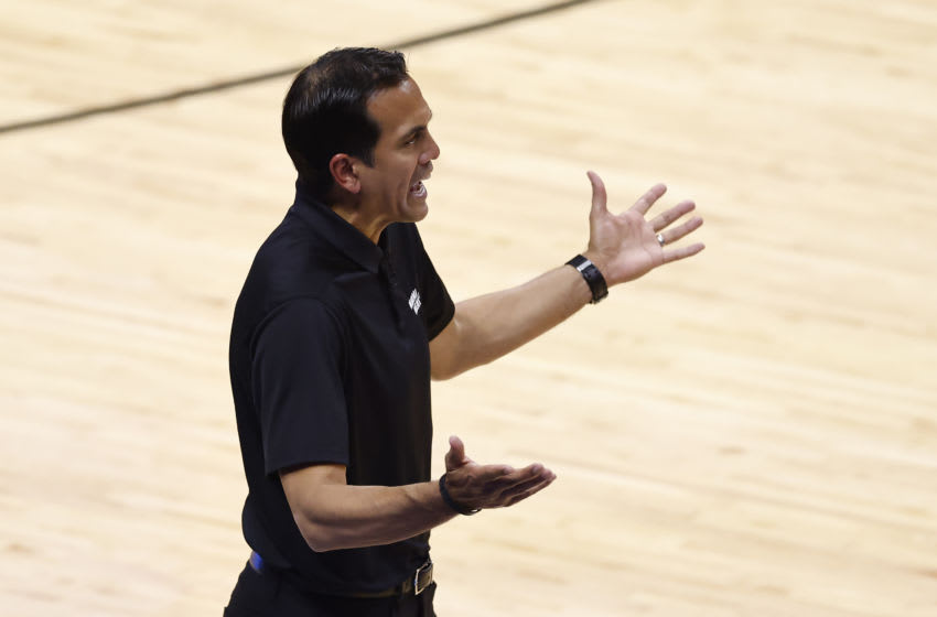 Head coach Erik Spoelstra of the Miami Heat reacts against the Milwaukee Bucks (Photo by Michael Reaves/Getty Images)
