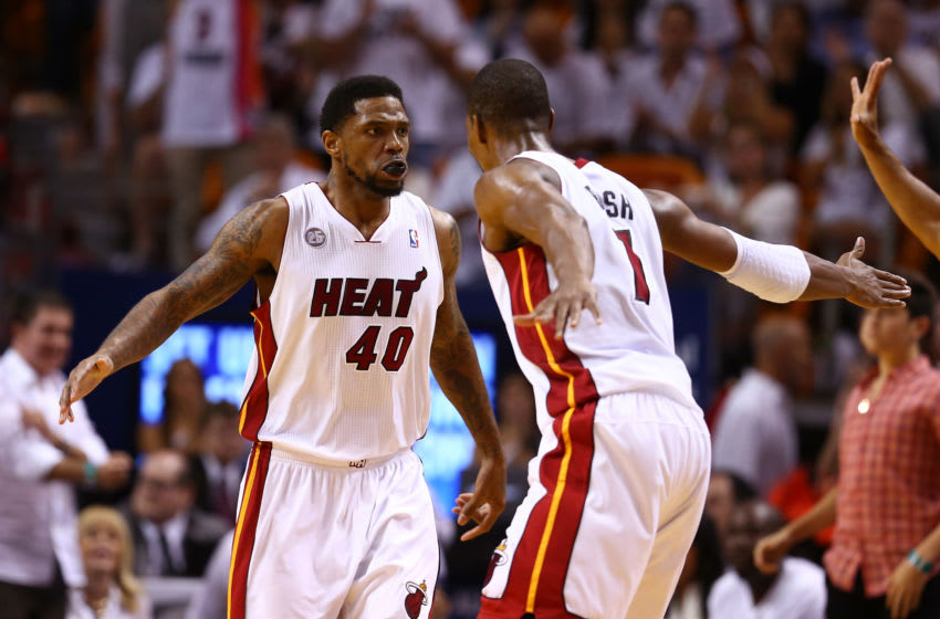 Udonis Haslem #40 and Chris Bosh #1 of the Miami Heat celebrate (Photo by Streeter Lecka/Getty Images)
