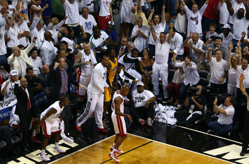 Ray Allen #34 of the Miami Heat reacts after hitting a three pointer against the Indiana Pacers during Game Three of the Eastern Conference Finals (Photo by Alex Trautwig/Getty Images)
