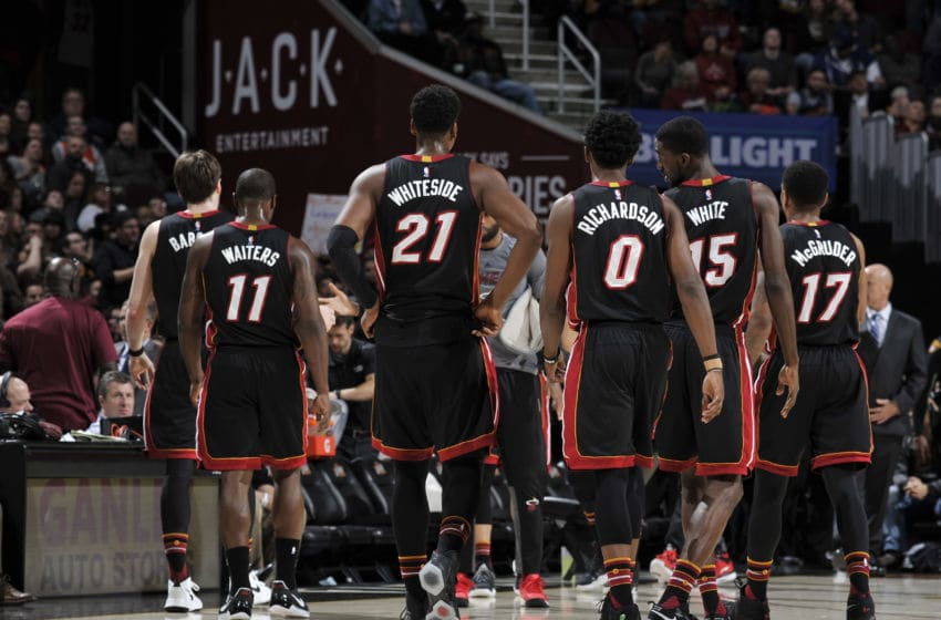 CLEVELAND, OH - MARCH 6: The Miami Heat huddle during the game against the Cleveland Cavaliers on March 6, 2017 at Quicken Loans Arena in Cleveland, Ohio. NOTE TO USER: User expressly acknowledges and agrees that, by downloading and/or using this photograph, user is consenting to the terms and conditions of the Getty Images License Agreement. Mandatory Copyright Notice: Copyright 2017 NBAE (Photo by David Liam Kyle/NBAE via Getty Images)