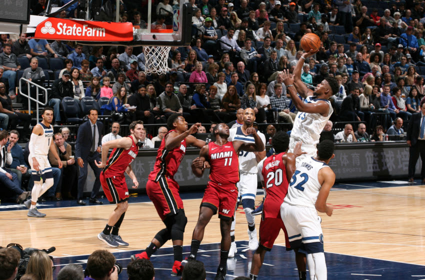 Jimmy Butler #23 of the Minnesota Timberwolves shoots the ball against the Miami Heat (Photo by David Sherman/NBAE via Getty Images)