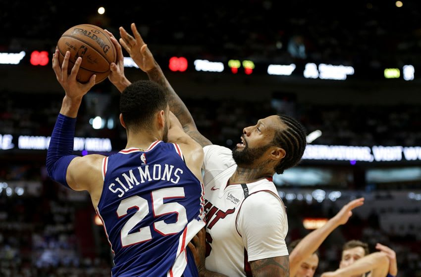 The Miami Heat's James Johnson defends against the Philadelphia 76ers' Ben Simmons (25) during the fourth quarter in Game 4 of the first-round NBA Playoff series at the AmericaneAirlines Arena in Miami on Saturday, April 21, 2018. The Sixers won, 106-102, for a 3-1 series lead. (Pedro Portal/El Nuevo Herald/TNS via Getty Images)