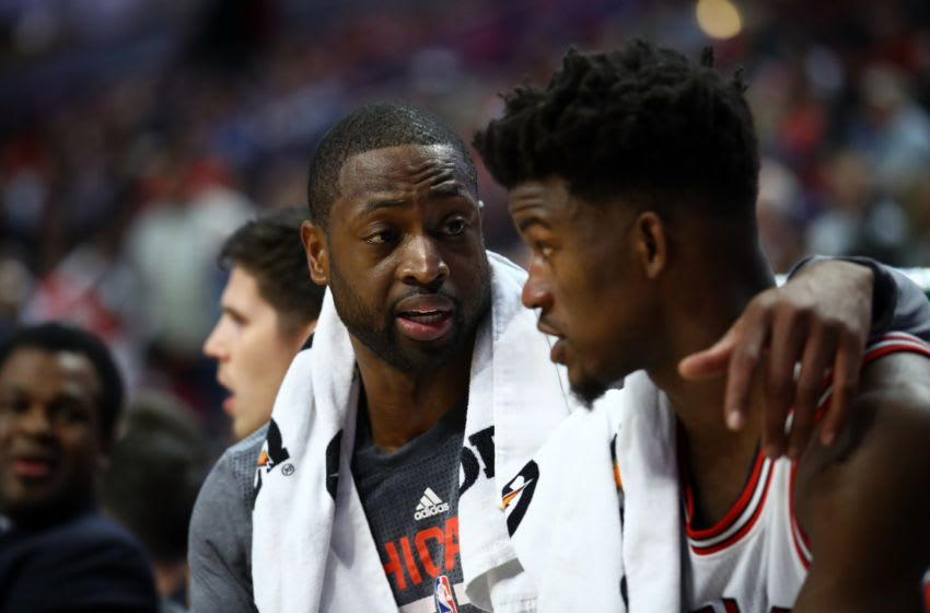 CHICAGO, UNITED STATES - NOVEMBER 8: Dwyane Wade (L) and Jimmy Butler (R) during a NBA game between Chicago Bulls and Orlando Magic at the United Center in Chicago, Illinois, United States on November 8, 2016. (Photo by Bilgin S. Sasmaz/Anadolu Agency/Getty Images)