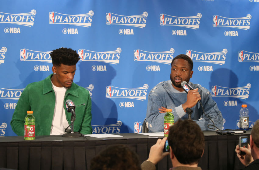 CHICAGO, IL - APRIL 21: Jimmy Butler #21 and Dwyane Wade #3 of the Chicago Bulls speak during the post-game press conference after the game against the Boston Celtics during Game Three of the Eastern Conference Quarterfinals of the 2017 NBA Playoffs on April 21, 2017 at the United Center in Chicago, Illinois. NOTE TO USER: User expressly acknowledges and agrees that, by downloading and or using this Photograph, user is consenting to the terms and conditions of the Getty Images License Agreement. Mandatory Copyright Notice: Copyright 2017 NBAE (Photo by Gary Dineen/NBAE via Getty Images)