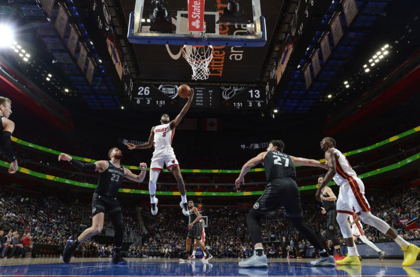 DETROIT, MI - JANUARY 18: Derrick Jones Jr. #5 of the Miami Heat shoots the ball against the Detroit Pistons on January 18, 2019 at Little Caesars Arena in Detroit, Michigan. NOTE TO USER: User expressly acknowledges and agrees that, by downloading and/or using this photograph, User is consenting to the terms and conditions of the Getty Images License Agreement. Mandatory Copyright Notice: Copyright 2019 NBAE (Photo by Chris Schwegler/NBAE via Getty Images)
