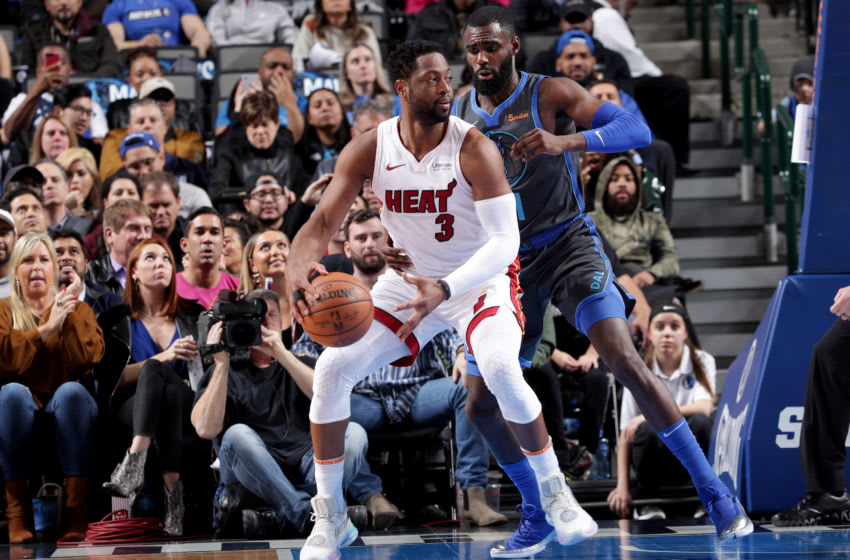 DALLAS, TX - FEBRUARY 13: Dwyane Wade #3 of the Miami Heat handles the ball during the game against the Dallas Mavericks on Febuary 13, 2019 at the American Airlines Center in Dallas, Texas. NOTE TO USER: User expressly acknowledges and agrees that, by downloading and or using this photograph, User is consenting to the terms and conditions of the Getty Images License Agreement. Mandatory Copyright Notice: Copyright 2019 NBAE (Photo by Glenn James/NBAE via Getty Images)