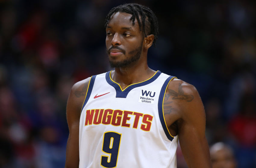 Jerami Grant #9 of the Denver Nuggets reacts during a game against the New Orleans Pelicans. (Photo by Jonathan Bachman/Getty Images)