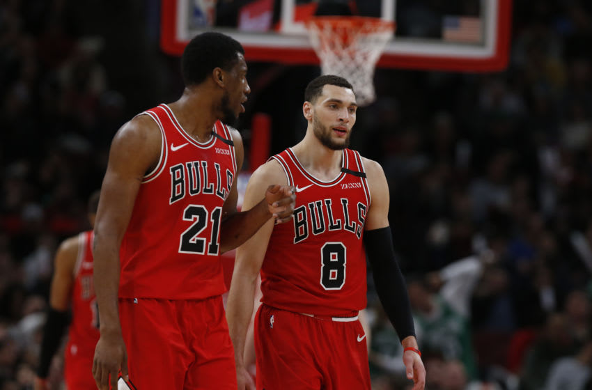 Thaddeus Young #21 of the Chicago Bulls and Zach LaVine #8 of the Chicago Bulls during the second half. (Photo by Nuccio DiNuzzo/Getty Images)