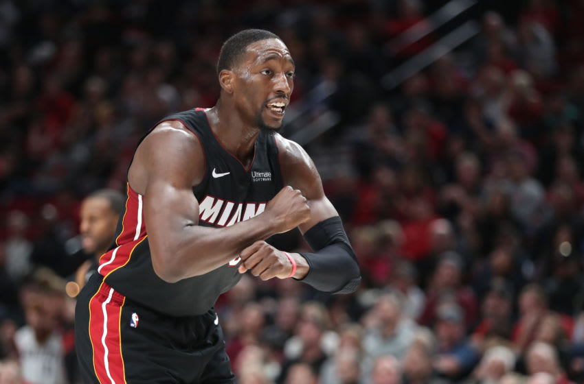 Bam Adebayo #13 of the Miami Heat reacts in the fourth quarter against the Portland Trail Blazers (Photo by Abbie Parr/Getty Images)