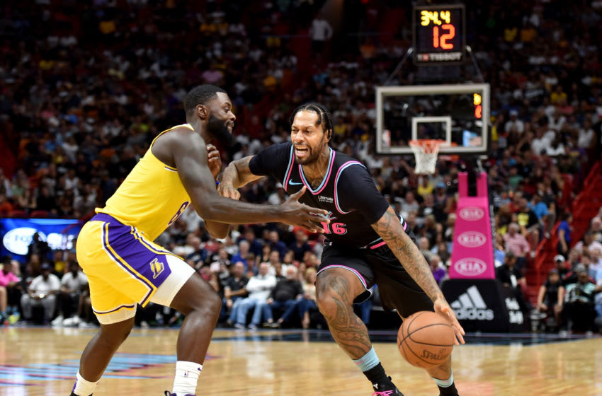 Miami Heat forward James Johnson (16) is guarded by Los Angeles Lakers guard Lance Stephenson (6) (Steve Mitchell-USA TODAY Sports)