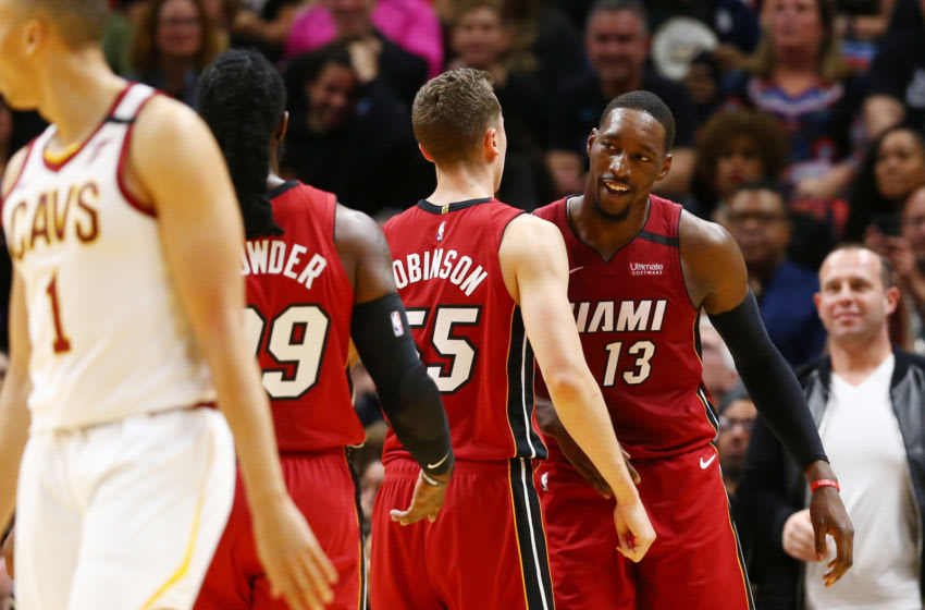 Miami Heat forward Bam Adebayo (13) is congratulated by guard Duncan Robinson (55) and forward Jae Crowder (99) (Kim Klement-USA TODAY Sports)
