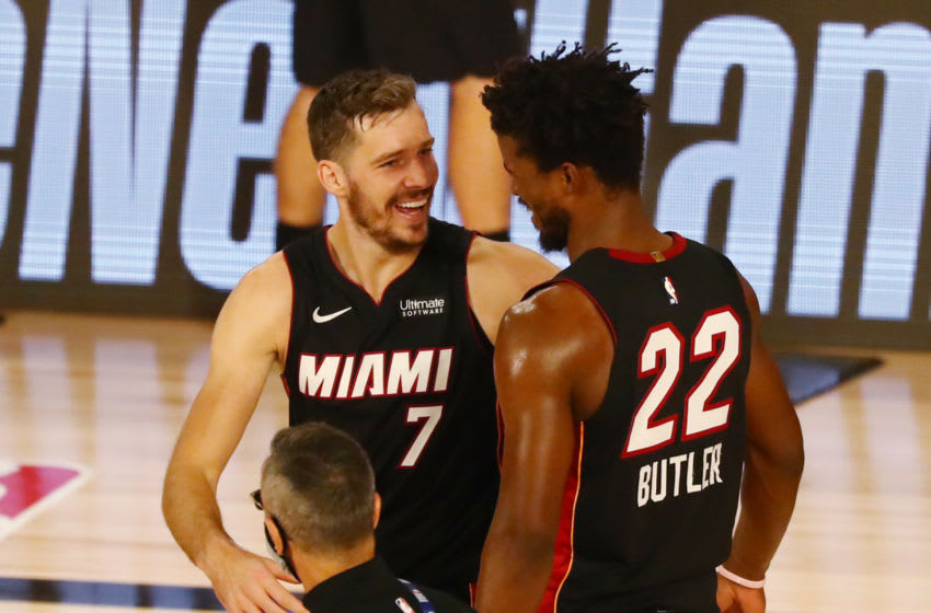 Miami Heat forward Jimmy Butler (22) celebrates with guard Goran Dragic (7) after defeating the Milwaukee Bucks (Kim Klement-USA TODAY Sports)