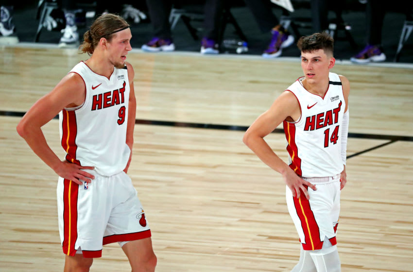 Miami Heat forward Kelly Olynyk (9) talks to guard Tyler Herro (14) during the second quarter against the Los Angeles Lakers (Kim Klement-USA TODAY Sports)