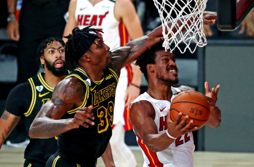 Miami Heat forward Jimmy Butler (22) is fouled by Los Angeles Lakers center Dwight Howard (39) during the first quarter (Kim Klement-USA TODAY Sports)