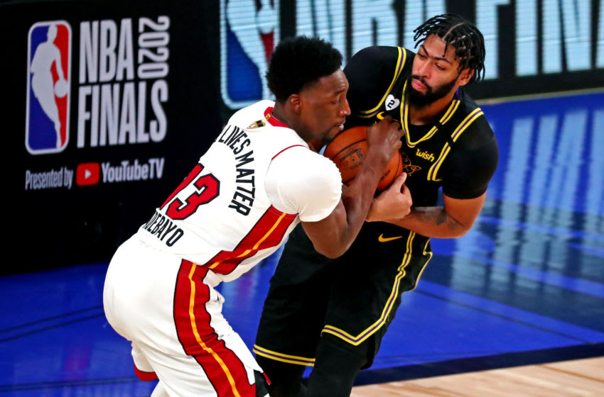 Los Angeles Lakers forward Anthony Davis (3) and Miami Heat forward Bam Adebayo (13) (Kim Klement-USA TODAY Sports)