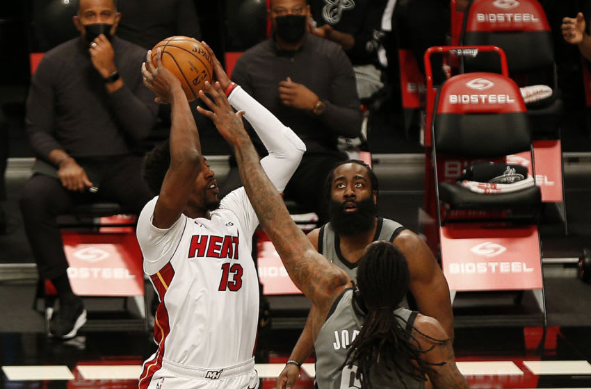 Miami Heat center Bam Adebayo (13) takes a shot while being defended by Brooklyn Nets center DeAndre Jordan (6) (Andy Marlin-USA TODAY Sports)