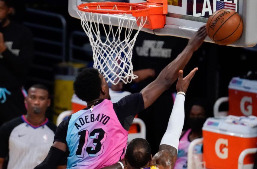 Miami Heat center Bam Adebayo (13) blocks a shot by Los Angeles Lakers forward LeBron James (23) (Robert Hanashiro-USA TODAY Sports)